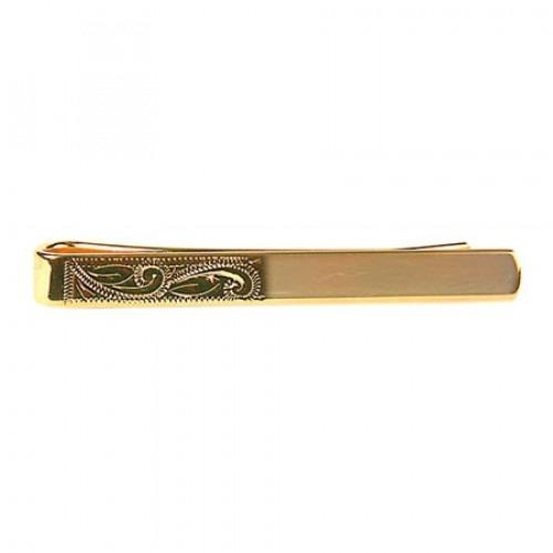 Slipseholder Klassisk Halvt Graveret Gulddouble