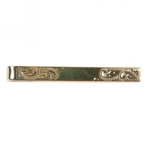 Slipseholder Klassisk Graveret med Glat Center Gulddouble