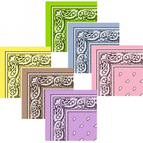 12 Stk Bandanas DeLuxe Valuepack 6 lyse farver