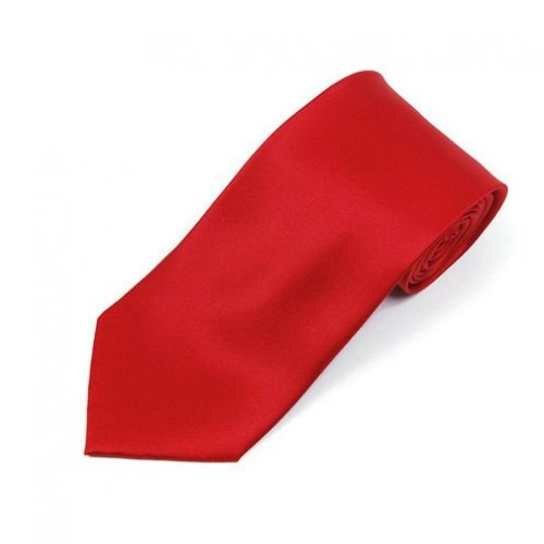 Smalt Rødt Satin Mode Slips