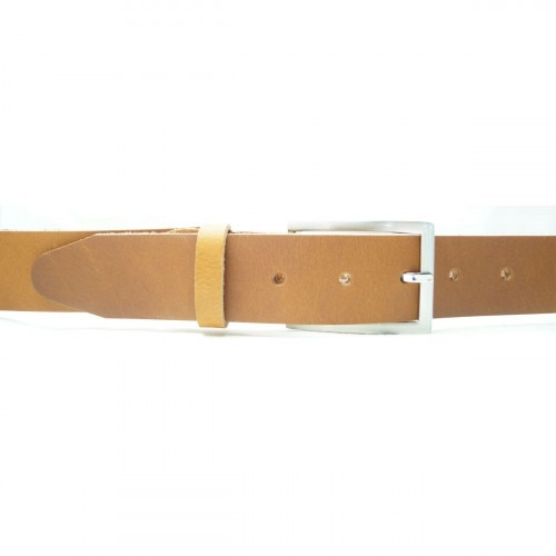 100% tykt classic læder bælte i cognac farve