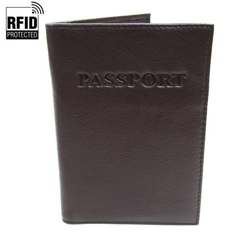 RFID Pas Holder i mørkebrunt Læder