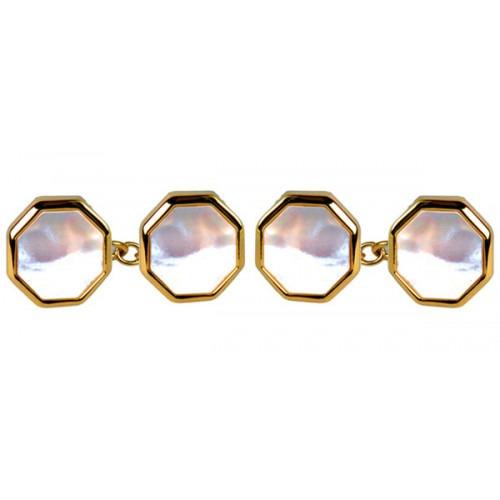 Guld Dobbelt Kæde Manchetknapper med Perlemor