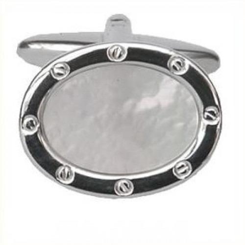 Manchetknapper Perlemor Koøje Sølv Oval