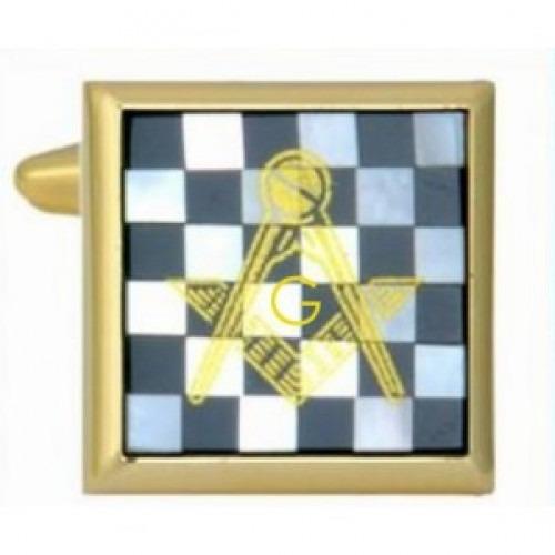 Manchetknapper Onyx Perlemor Skaktern med Frimurer tegn Guld