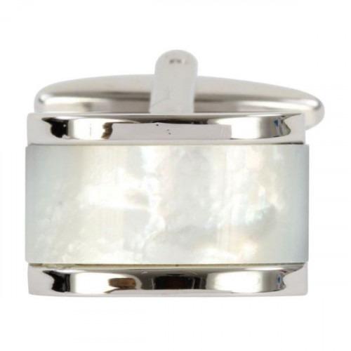 Moderne Perlemor Sølv Manchetknap