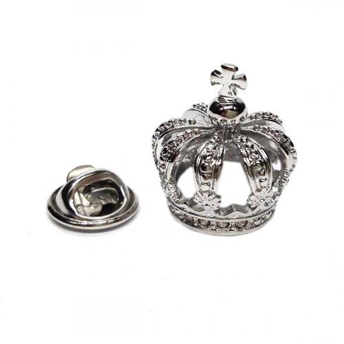 Pin 3D Krone Silver