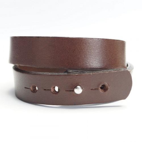 Dansk fabrikeret mørkebrunt dobbelt læder armbånd