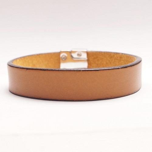 Dansk fabrikeret lyse brunt læder armbånd