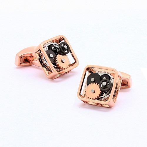 Steampunk Rose Gold Gears Cufflinks
