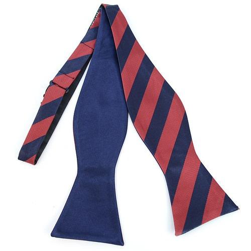 2 Farvet Stripes Free Style Bow Tie Navy