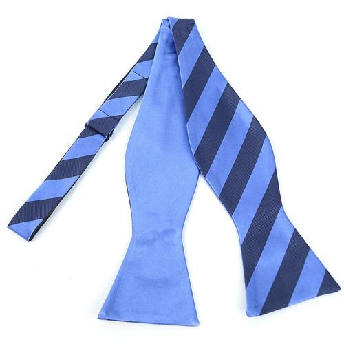2 Farvet Stripes Free Style Bow Tie Sky Blue
