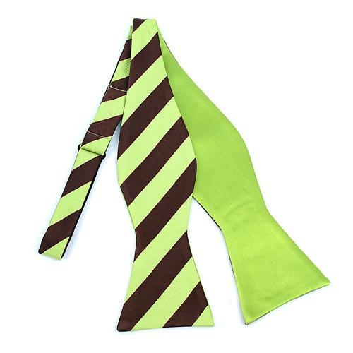 2 Farvet Stripes Free Style Bow Tie Lime