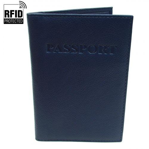 RFID Pas Holder i mørkeblåt Læder