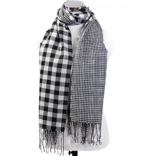 Tørklæde Checkered Scarf Hvid
