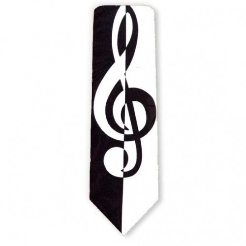 Musik G nøgle slips i god gammeldags sort/hvid