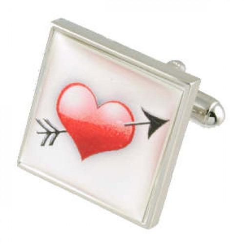 Romantiske manchetknapper med hjerte og pil