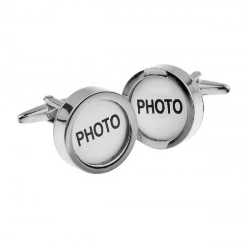 Manchetknapper med foto ramme i sølv