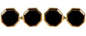 Guld Dobbelt Kæde Manchetknapper med Onyx