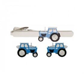Slipseholder og Manchetknapper Blå Traktor