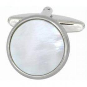 Manchetknapper Perlemor Rund Sølv