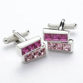 Manchetknapper Swarovski Krystal Pink Morning Bars