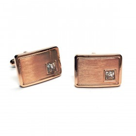Curved Rose Gold Cufflinks with Crystal