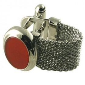 Manchetknapper Rød Agat på Sølv
