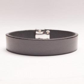 Dansk fabrikeret antracit farvet læder armbånd