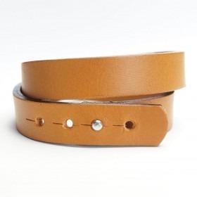 Dansk fabrikeret lysebrunt dobbelt læder armbånd