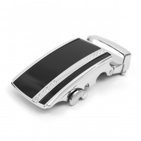 Auto Slide & Lock Bælte Spænde  - Sølv og Sort - Uden Livrem