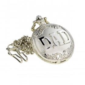 Sølv lommeur til far med kæde