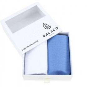 Hvidt og blåt luksus lommetørklæde