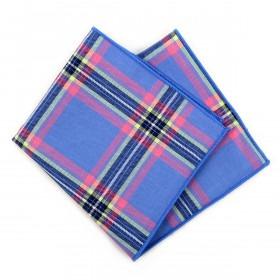 Himmelblå Ternet Pyntelommetørklæde