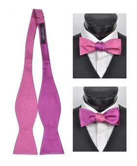 2 Farvet Silke Selvbinder Butterfly - Pink