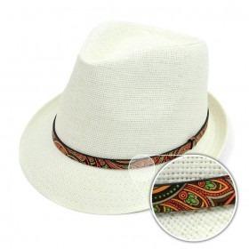 Trilby Fedora Hat Hvid med Paisley Bånd