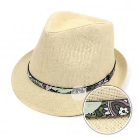 Trilby Fedora Hat Natur med Blomster Bånd
