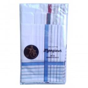 6 bomuldslommetørklæder til herrer med kulørt mønster