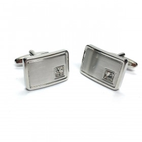 Curved Silver Cufflinks with Crystal