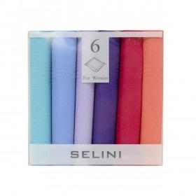 Æske med 6 kulørte lomme tørklæder til damer