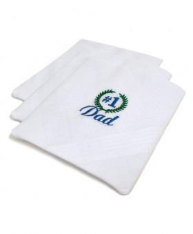 Lommetørklæder med No. 1 Dad broderet