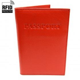 RFID Pas Holder i rødt Læder