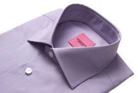 Bomulds Skjorte med Lange Ærmer - Lyselilla  - Str. 39/40