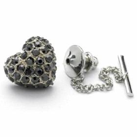 Slipse Nål Gun Metal Krystal Hjerte