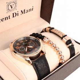 Ur, perlearmbånd og læderarmbånd