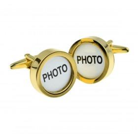 Manchetknapper med foto ramme i guld